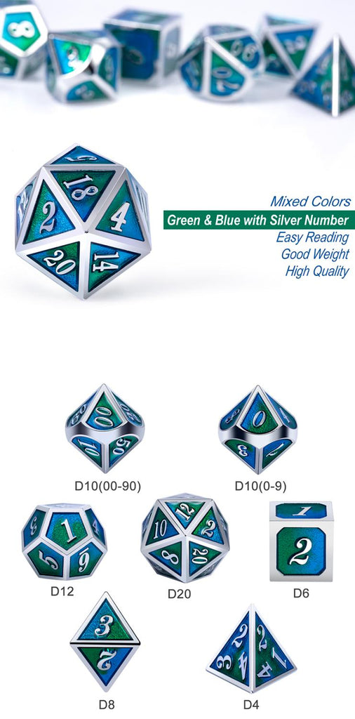 Metal & Enamel Dice Set (7pcs) [Violas]