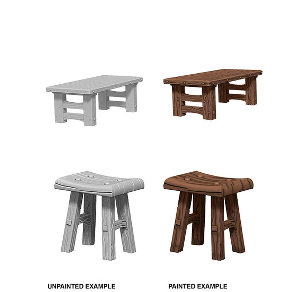 WizKids Deep Cuts Unpainted Miniatures: Wooden Table & Stools