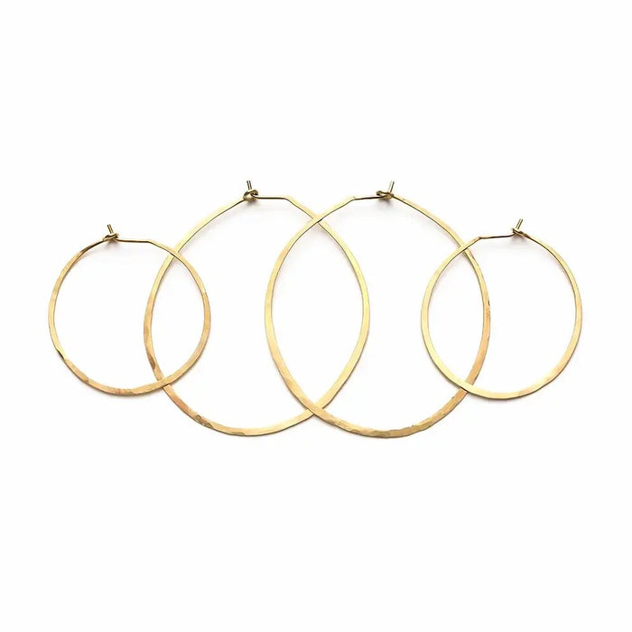 Brass Hammered Hoop Earrings