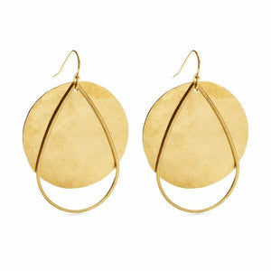 Full Moon Brass Earrings