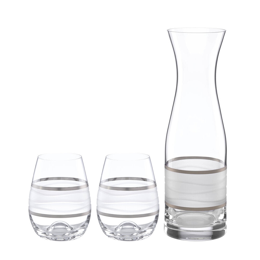 Ile de Re Platinum Carafe with 2 Stemless Wines