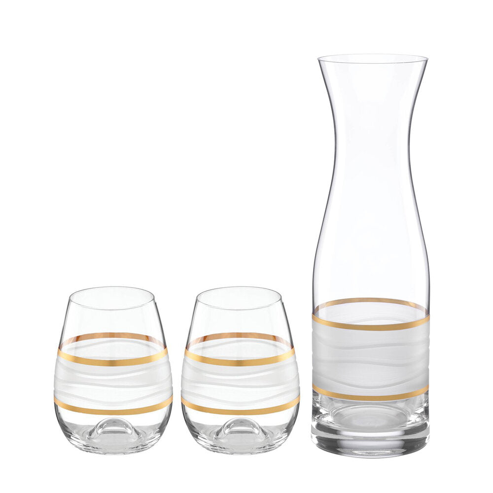Ile de Re Gold Carafe with 2 Stemless Wines