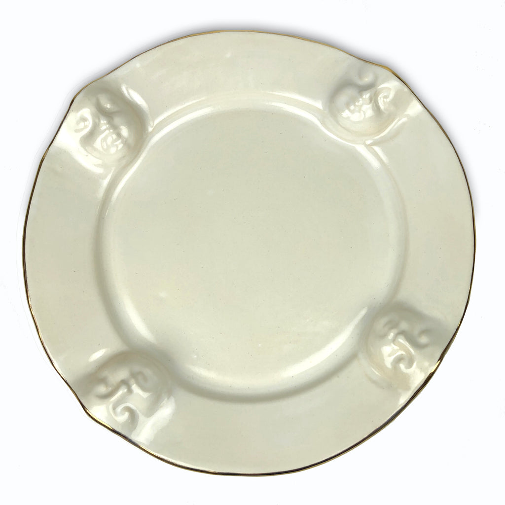 Face Serving Plate white with gold