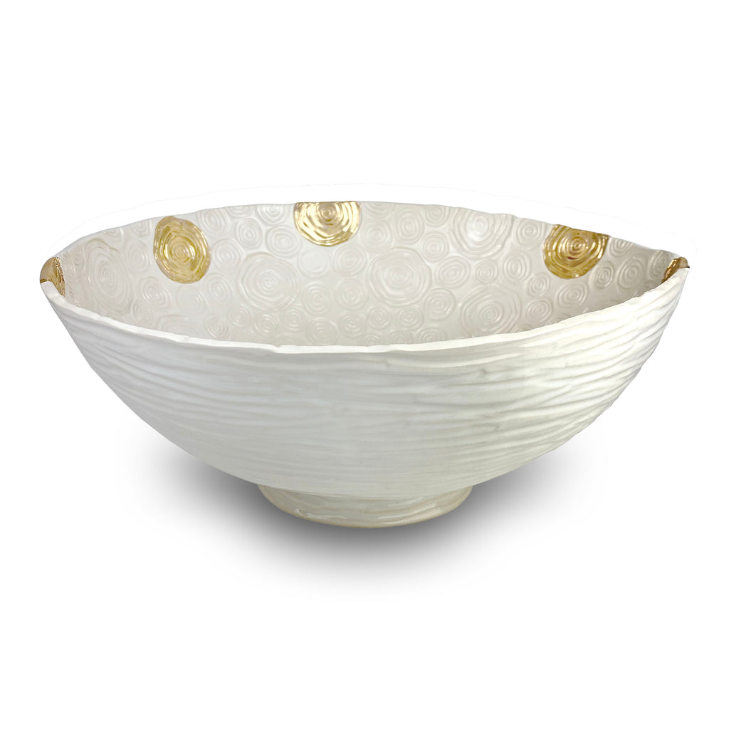 Large Patterned Bowl with 24k Gold