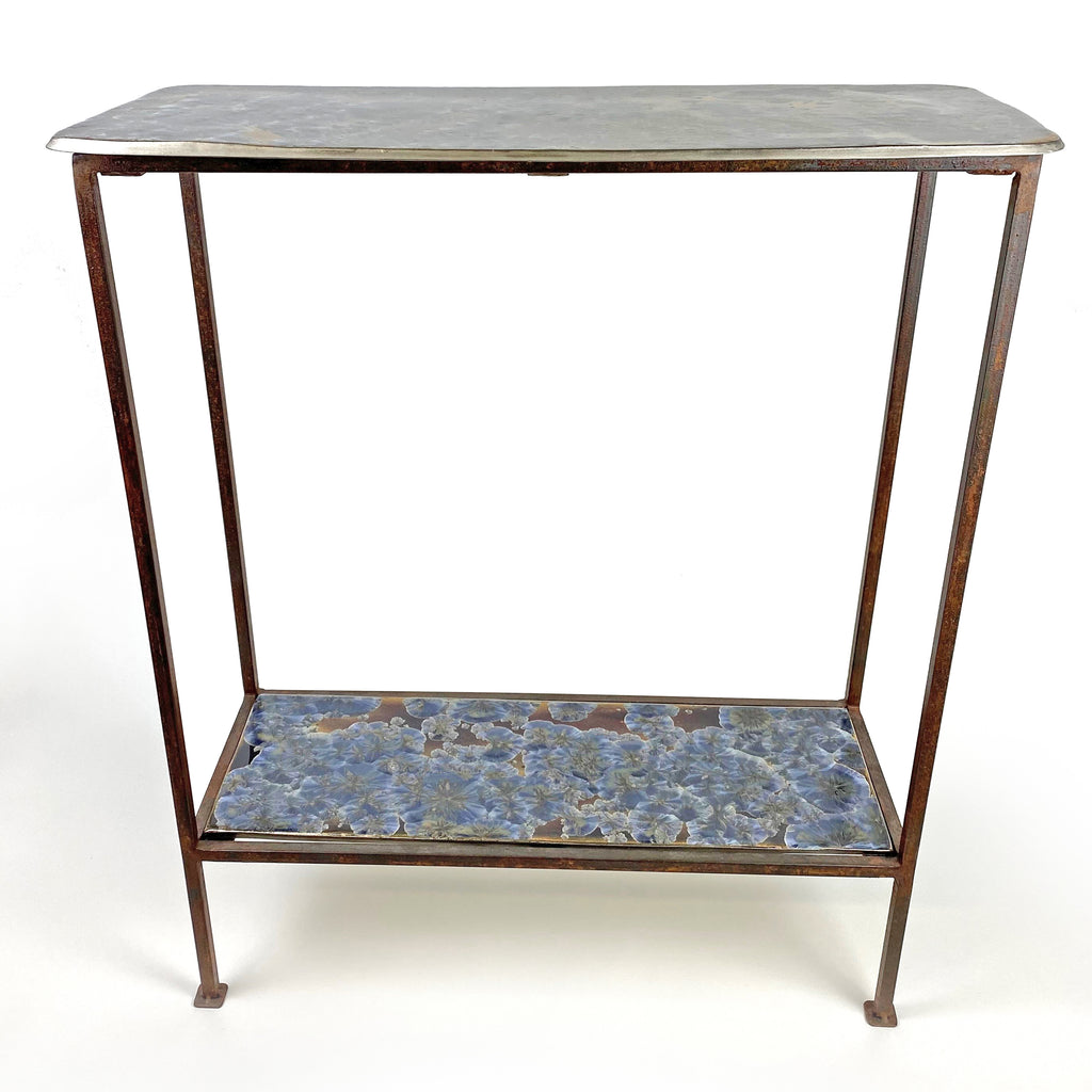 Borealis Blue Two-Tier Console Table