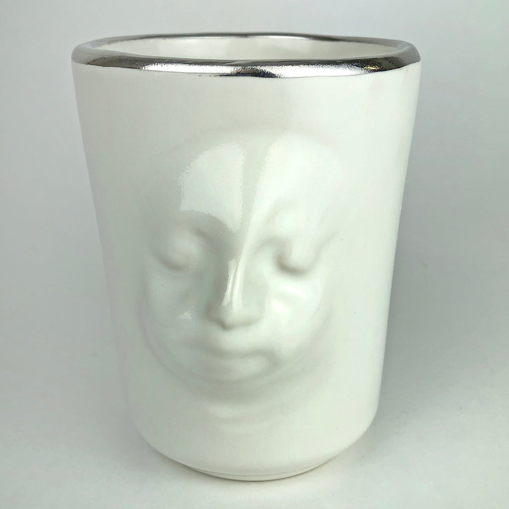 Face Mug white with Platinum