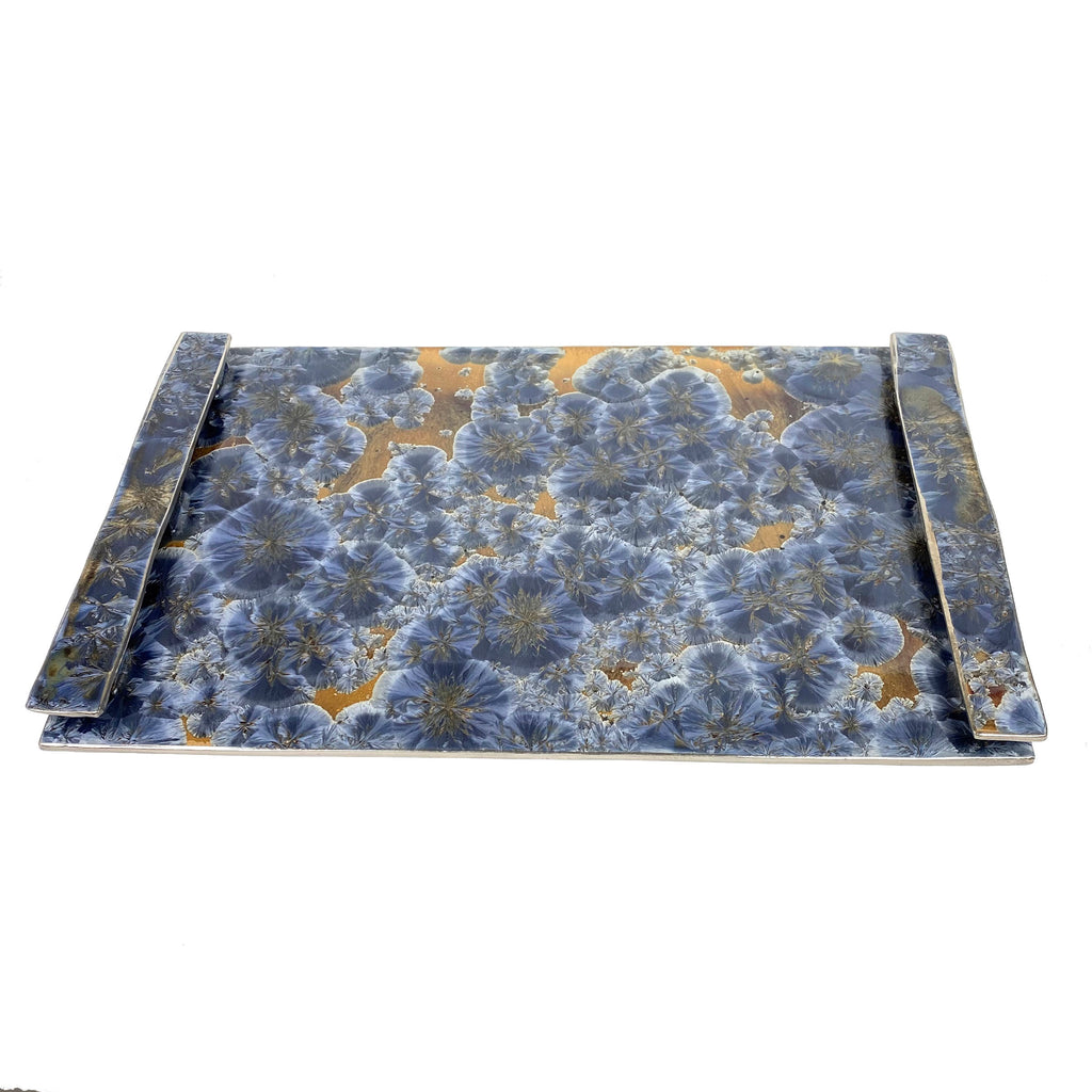 Borealis Frost Blue Large Handled Tray
