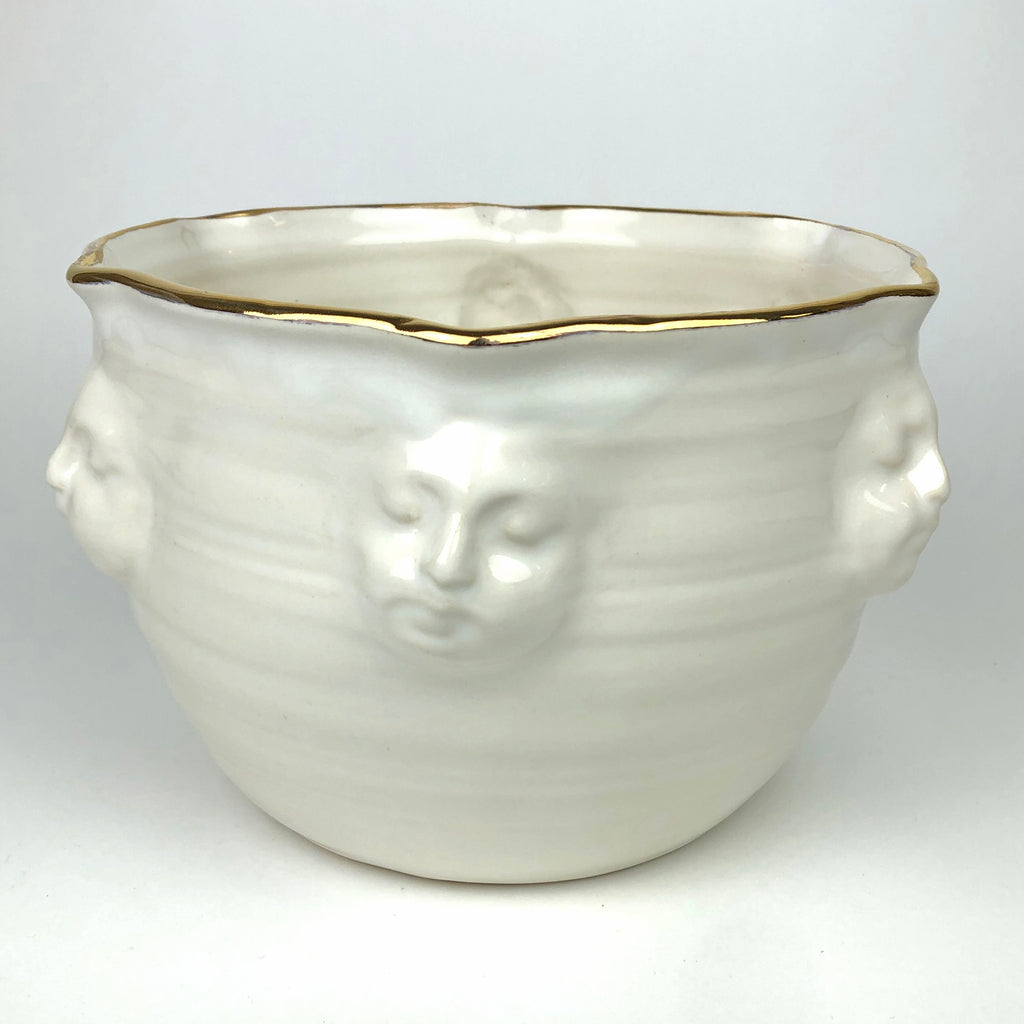Large Face Bowl White Gold