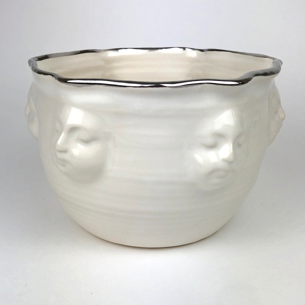 Large Face Bowl White with Platinum