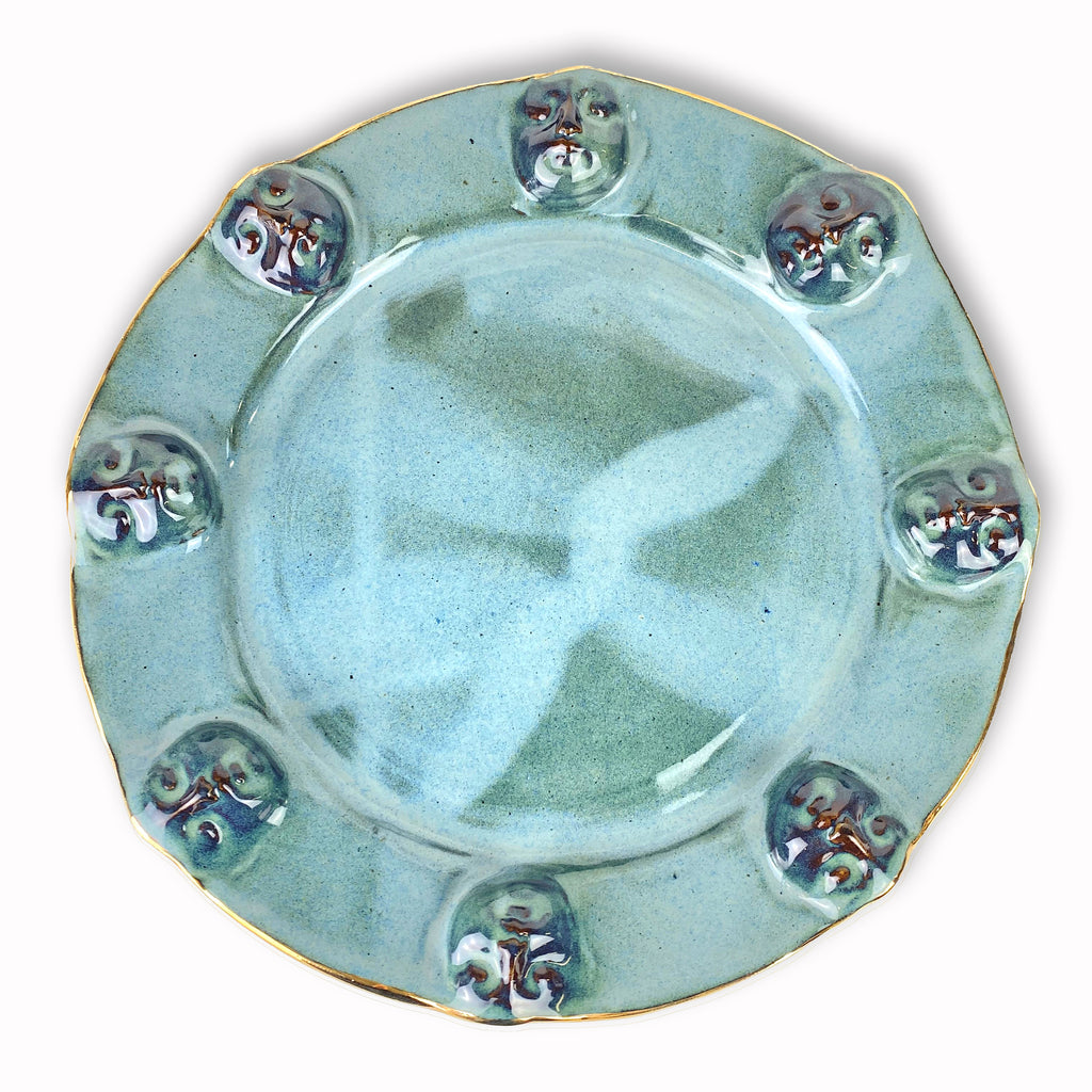 Face Platter Blue-Green with Gold