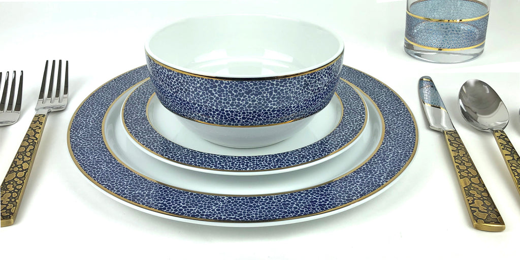 Panthera Indigo 3 Piece Set - Dinner, Salad, Bowl