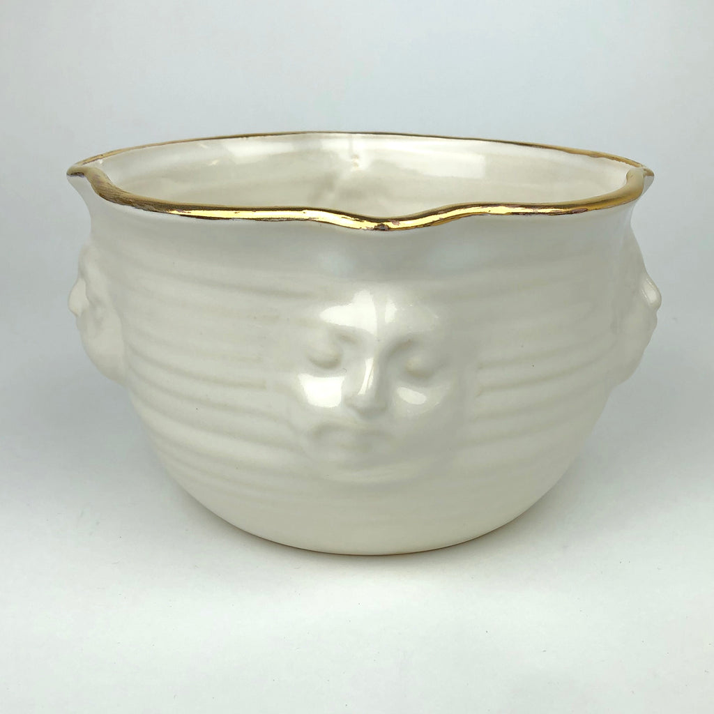 Face Bowl White with Gold