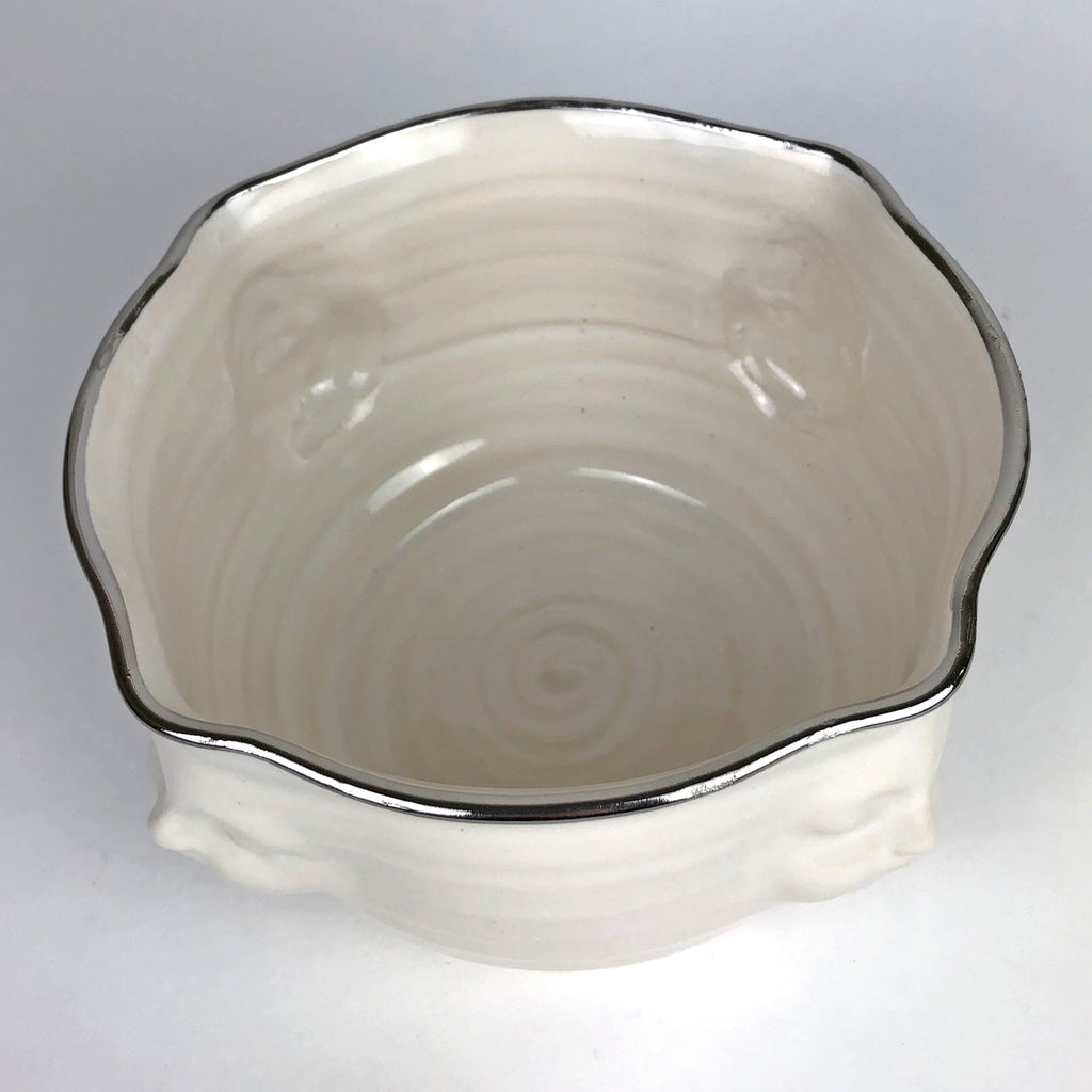 Face Bowl White with Platinum