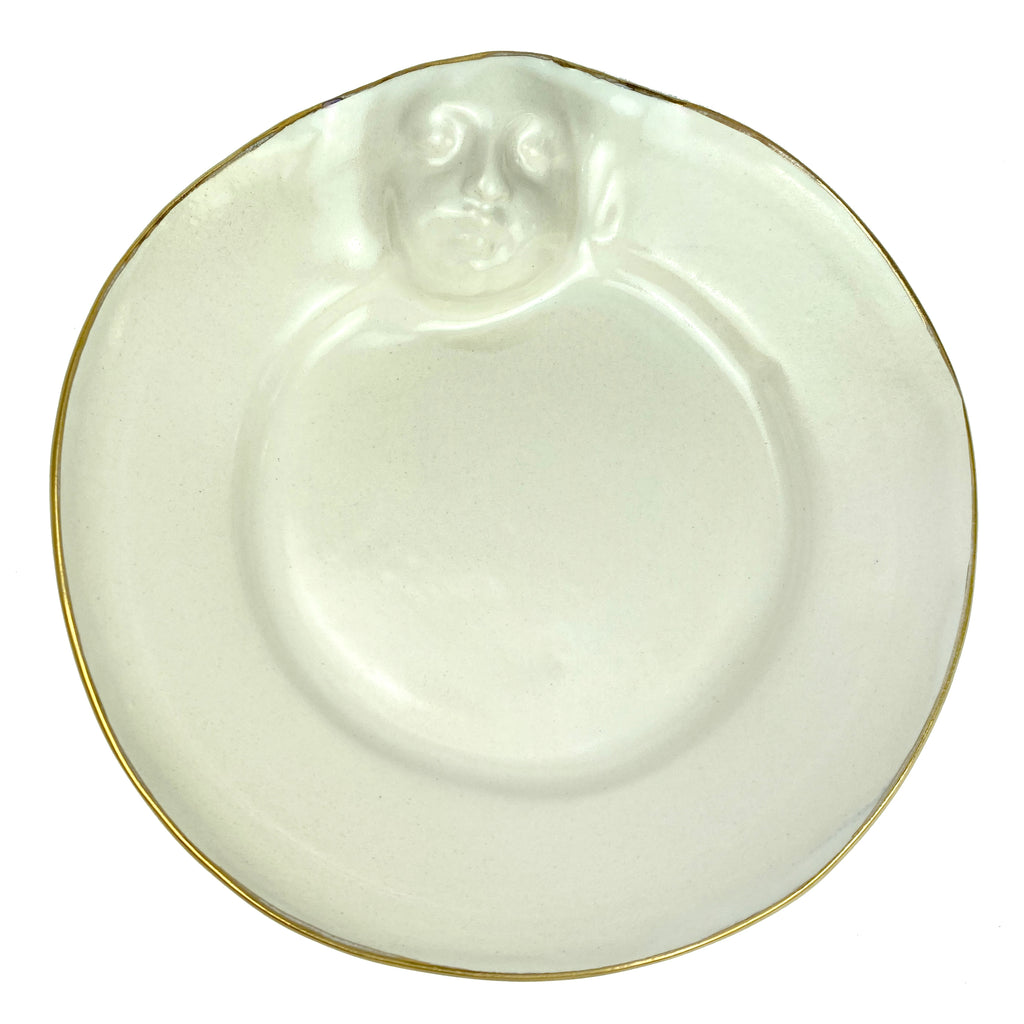 Face Hor d'Ouvre/dessert Plate white with gold