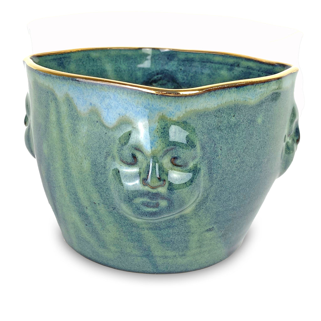 Face Bowl Blue-Green with Gold
