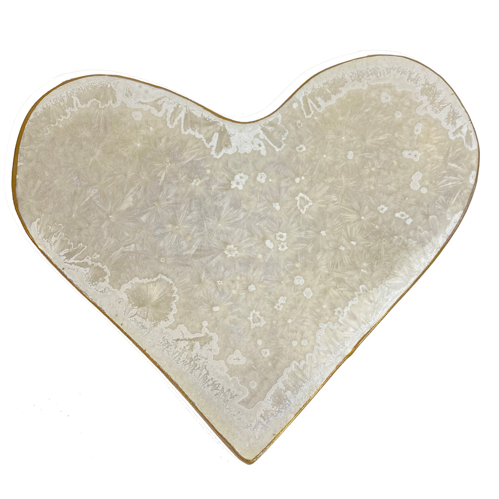 Borealis White with Gold Small Heart