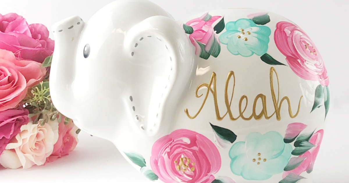 HAND PAINTED PIGGY BANK FOR GIRLS