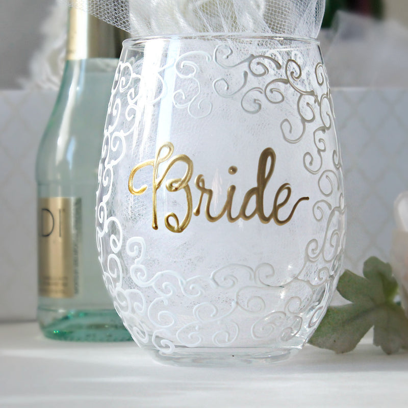 personalized bride stemless wine glass
