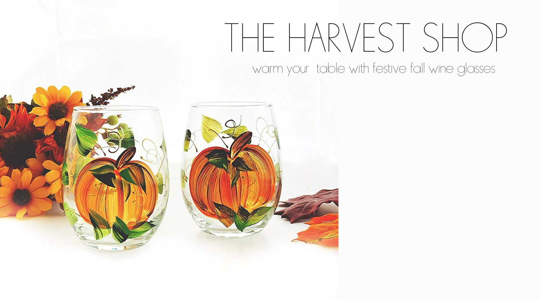 hand painted pumpkin wine glasses