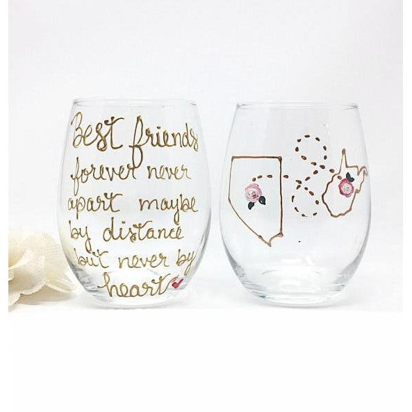 best friends forever wine glass