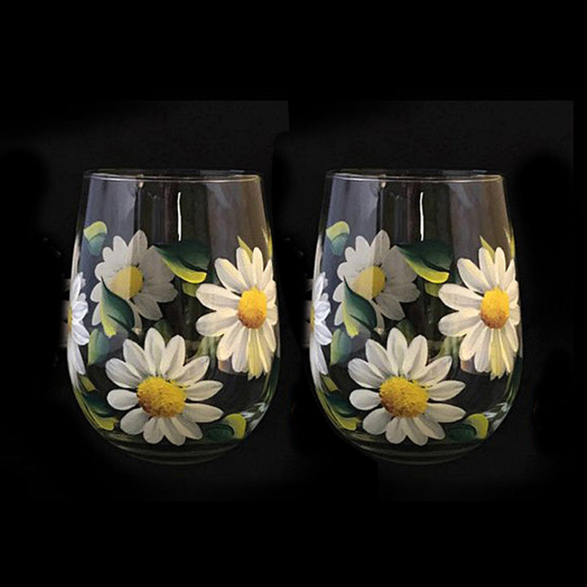 White Daisy 15 oz. Stemless Wine Glass - Set of 2 - Hand Painted