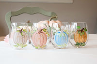 Harvest Pumpkin, Mixed Colors, Hand-Painted Stemless Wine Glass