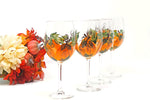 Hand Painted Fall Pumpkin Wine Glasses, Set of 4, 11oz Stemmed Wine Glasses