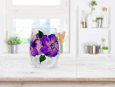 Hibiscus Hand painted Stemless Wine Glass, 15 oz.