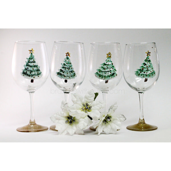 Christmas Wine Glasses, Set of 4, Hand Painted Christmas Glasses-Brusheswithaview