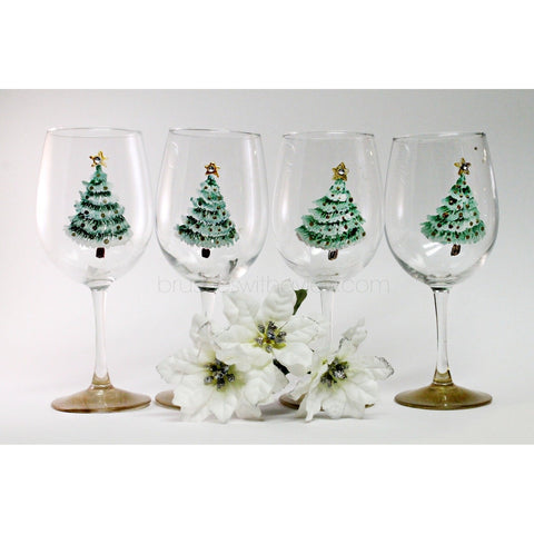 Christmas Wine Glasses, Set of 4, Hand Painted Christmas Glasses