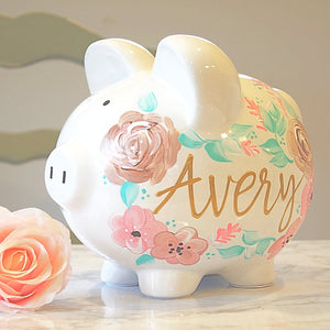 Baby Girl Boho Floral, Hand Painted Personalized Piggy Bank
