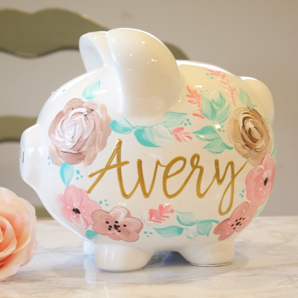 Large Boho Painted Piggy Bank Baby Girl Gift