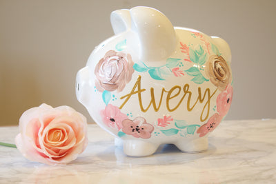 Large BOHO PAINTED PIGGY Bank, Baby Girl Gift, Personalized Piggy Bank for Girls