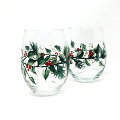 Christmas Wine Glasses - Set of 2 Stemless  - Hand Painted -  Holly and Berry