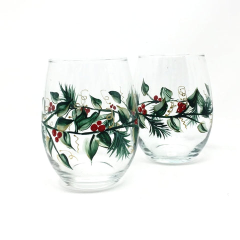 Christmas Vines and Berries, Hand Painted Wine Glasses, set of 2 Stemless or stemmed
