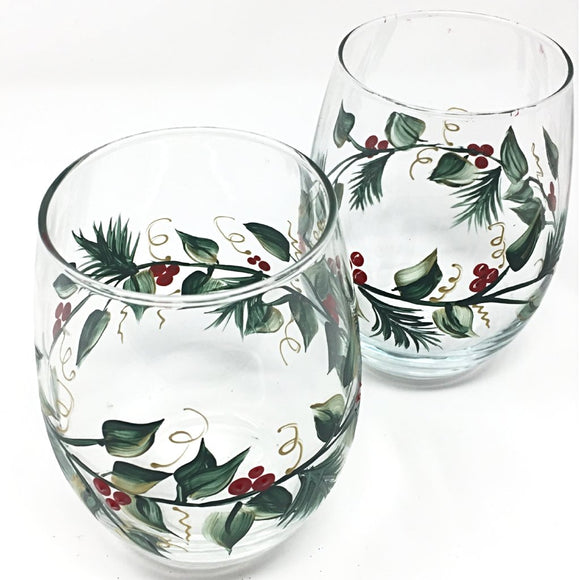 Hand Painted Christmas Holiday Wine Glasses, Set of 2 Your Choice Stemmed or Stemless-Brusheswithaview
