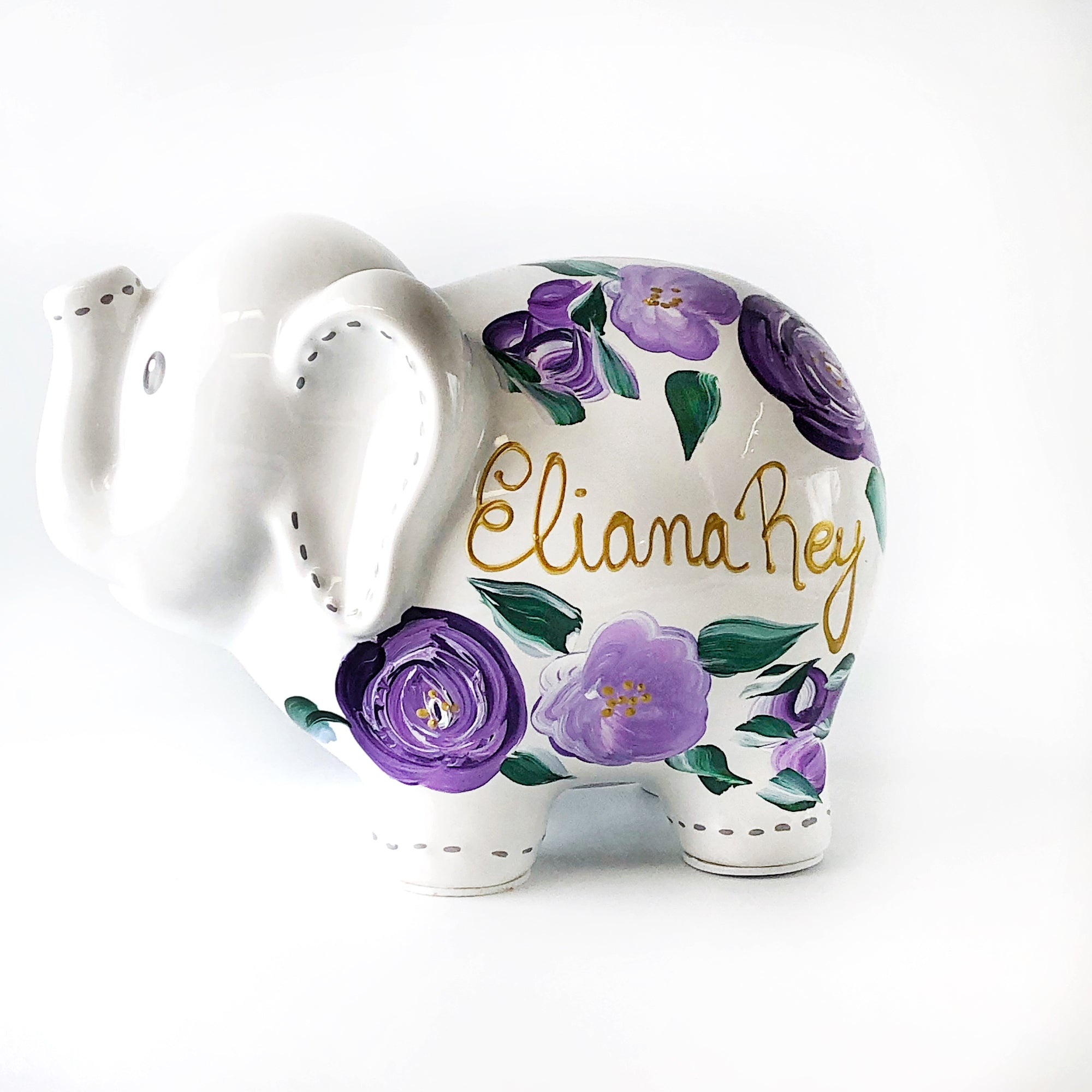 Personalized Elephant Piggy Bank, Purple Floral Baby Girl