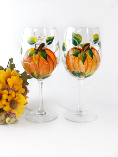Harvest Pumpkin Hand-Painted Stemmed Wine Glass - Set of 2- 12 ounce