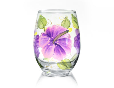 Hibiscus Hand painted Stemless Wine Glass, 15 oz. - Brushes with a View