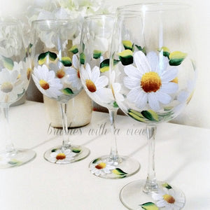 Daisy painted wine glasses- Stemmed or Stemless - Brushes with a View