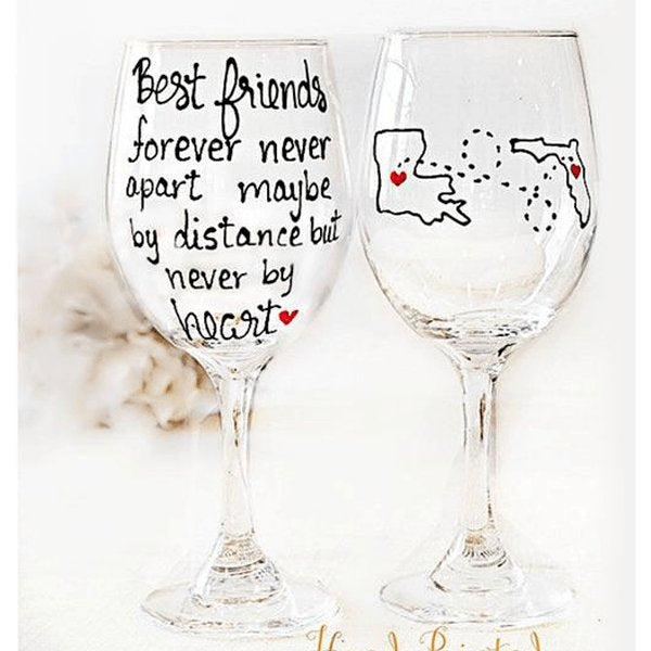 Personalized Best Friend Wine Glass, Long Distance Best Friend Gift-Brusheswithaview
