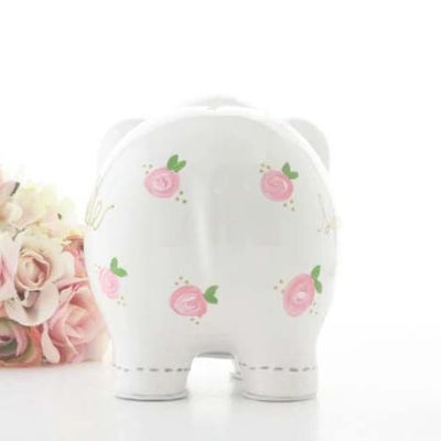 BACK IN STOCK Personalized Elephant Piggy Bank with Pink Flowers