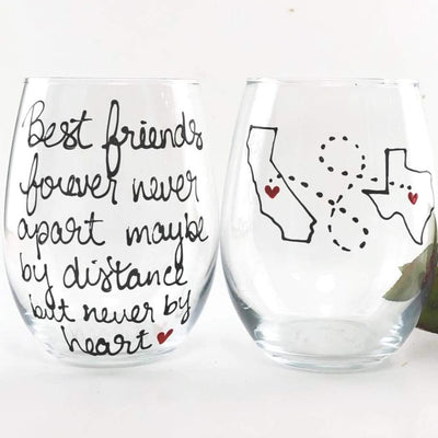 Best Friend Long Distance State Stemless Wine Glass, Hand Painted