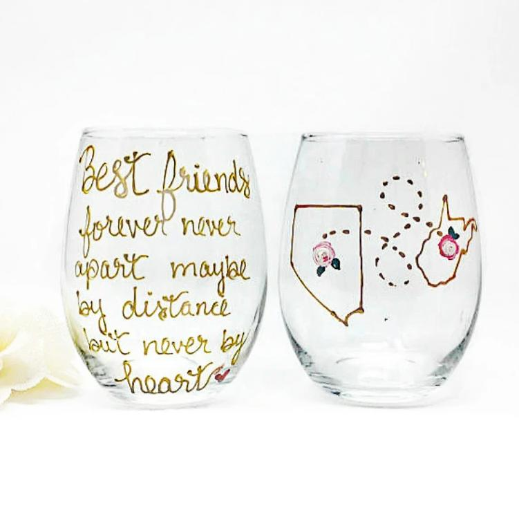 Long Distance Best Friend Wine Glass Stemmed or Stemless, Gold Metallic