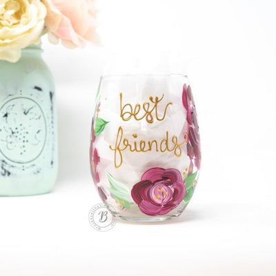 Best Friends Boho Floral Stemless Wine Glass
