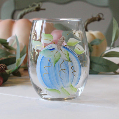 Harvest Pumpkin, Shades of blue  Hand-Painted Stemless Wine Glass