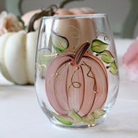 Harvest Pumpkin, Shades of Blush Pink  Hand-Painted Stemless Wine Glass