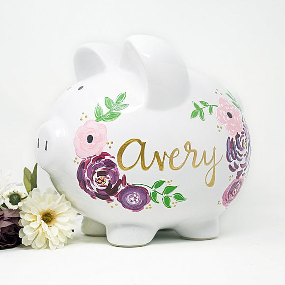 boho piggy bank hand painted personalized piggy bank shaggy chick florals