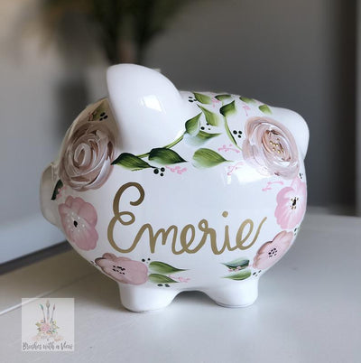 Hand Painted Boho Flowers Piggy Bank - Brushes with a View