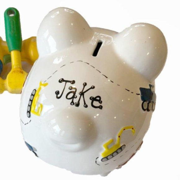 Hand Painted Boys Construction Piggy Bank
